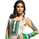 Splendid Beige and Green Cotton Printed Unstitched Salwar Suit