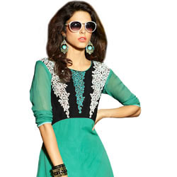 Exotic Georgette Embroidered Kurti in Torquoise Green Colour