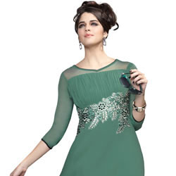 Gorgeous Georgette Embroidered Kurti in Pastel Green Colour