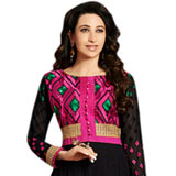 Breathtaking Black and Pink Coloured Embroidered Anarkali Salwar Kameez