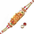 Lovely Raksha Bandhan Special Ganesha Design Rakhi Gift with free Roli Tilak and Chawal