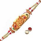 Lovely Raksha Bandhan Special Ganesha Design Rakhi Gift with free Roli Tilak and Chawal