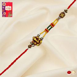 Fantastic Swastik and Ganesha Thread Rakhi