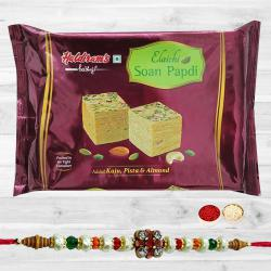Amazing Stone Rakhi N Soan Papdi Pack, Free Roli Chawal N Card