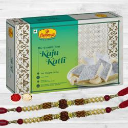 Auspicious Rudraksha Rakhi N Kaju Katli, Free Roli Tika N Card
