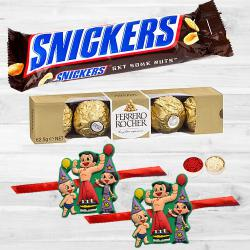 Splendid Kids Rakhis N Yummy Chocolates with Free Roli Chawal N Card