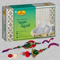Exquisite Bhaiya Bhabhi Rakhi N Kaju Katli, Free Roli Tika N Card