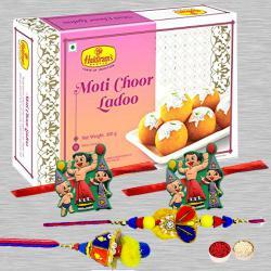 Elegant Family Rakhi Set N Motichoor Laddoo with Roli Tika N Card