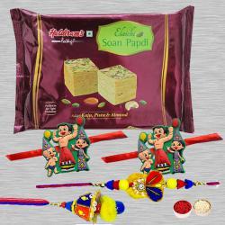 Ecstatic Family Rakhi Set N Tasty Soan Papdi with Card N Roli Chawal