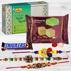 Beautiful Rakhi Set with Sweets N Chocolate Assortments