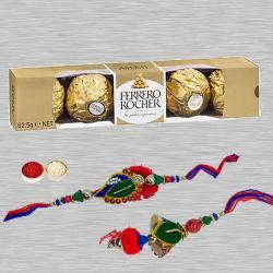 Appealing Bhaiya Bhabhi Rakhi N Chocolates, Free Card N Roli Tika