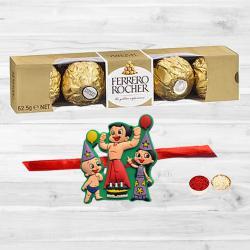 Fancy Kids Rakhi N Ferrero Rocher with Free Roli Chawal N Card