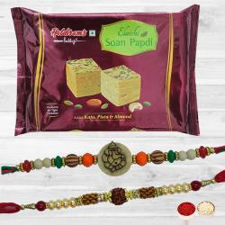 Soothing Rakhi Pair N Soan Papdi with Free Card N Roli Chawal
