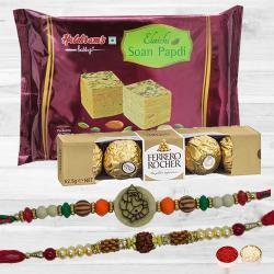 Fantastic Rakhi Set with Tasty Ferrero Rocher N Soan Papdi