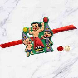 Lovely Single Kids Rakhi with Free Roli Chawal N Rakhi Card