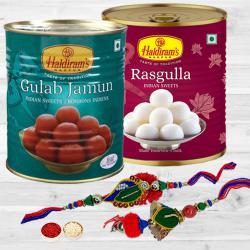 Delicious Haldiram Sweets Wonder with Bhaiya Bhabhi Rakhi Set