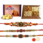 3 Enchanting Rakhi Set With Dry Fruits and Soan Papdi