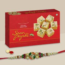 Pleasing Devine Rakhi with Soan Papdi