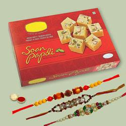 3 Significant Rakhi Set With Soan Papdi