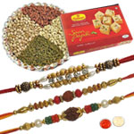 3 Ravishing Rakhi set, Soan Papdi, Dry Fruits