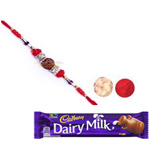Beautiful Comb of Rudraksh Rakhi with Dairy Milk Chocolate