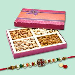 Beauteous Bandhan Rakhi With Mix Dry Fruits, Set Of Roli Chaval