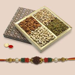 Unique Prince Rakhi With Mix dry Fruits, Set Of Roli Chaval (Tilak)