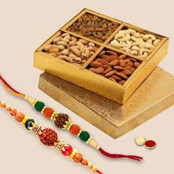 Empyrean Rudraksh Rakhi Set with Dry Fruits