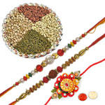 Charming Zardosi 3 Rakhi Set With Dry Fruits