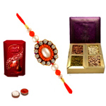 Eye-Catching Bandhan Rakhi, Lindt Lindor , Mix Dry Fruits , Set Of Roli Chaval (Tilak)