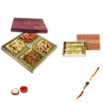 Arresting Rakhi With Mix Dry Fruits , Kaju Sweet, Set Of Roli Chaval (Tilak)