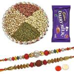 Godly Pavitra Rakhi Set With Dairy Milk Chocolate , Mix Dry Fruits, Set Of Roli Chaval (Tilak)