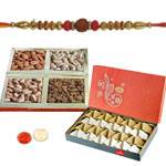 Beguiling Prince Rakhi With Mix Dry Fruits, Kaju Katli, Set Of Roli Chaval (Tilak)