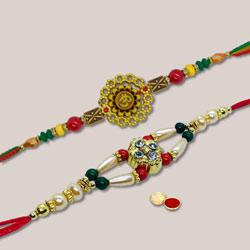 Prepossessing Rakhi Combo of Two Rakhi