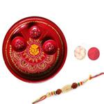 Elegant Moti Rakhi With Decorative Thali