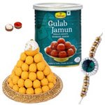 Charismatic Selection of Rakhi with Sweets Gift<br>