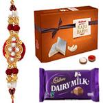 Arresting Rakhi Gift of Sweets N Chocolates with Roli Chawal (Tilak)