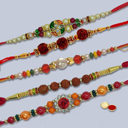 Remarkable Pyar Ka Bandhan 5 Pc Rakhi Set