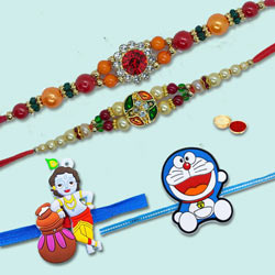 Ecstatic Selection of 4 Family Rakhi Set