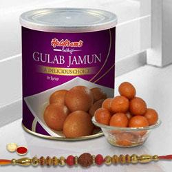 Beautiful Selection of One Rakhi with Yummy Gulab Jamun Tin