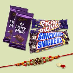 Glamorous Gift of One Rakhi with Chocolate Assortments