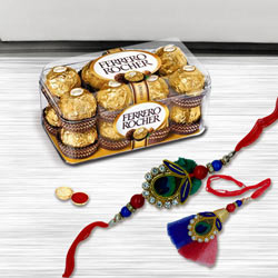 Delightful Rakhi Lumba Set with Ferrero Rocher Chocolate Pack