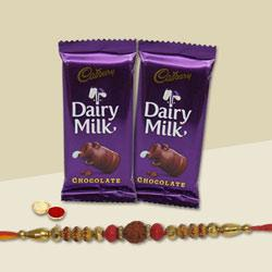 Graceful Rakhi with Mouth-Watering 2 Pc. Dairy Milk Chocolate Bars