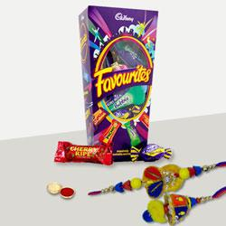 Outstanding Rakhi Lumba Set for Bhaiya Bhabhi with Yummy Chocolate Pack