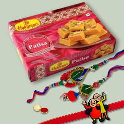 Irresistible Patisa Pack with 3 Family Rakhi Set