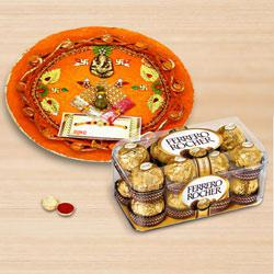 Enthralling Combo of Rakhi with Rakhi Thali N Ferrero Rocher Chocolate