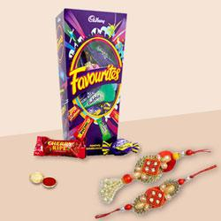 Charismatic Bhaiya Bhabhi Rakhi Lumba Set with Cadbury Favourite Chocolate Pack