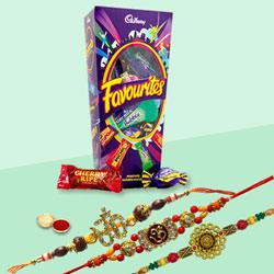 Auspicious Three Family Rakhi Set with Cadbury Favourite Chocolate Pack
