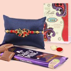 Attractive Rakhi, Cadbury Dairy Milk, Free Roli Chawal with Message Card
