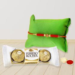 Classy Rakhi with Ferrero Chocolate, Free Roli Chawal and Wishes Card
